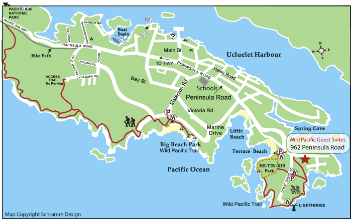 Tofino Canada Map.Wild Pacific Ucluelet Bed And Breakfast Ucluelet Accommodations On