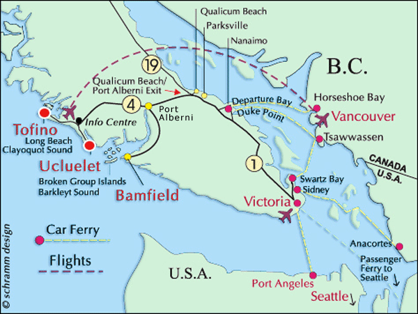 Vancouver Island, Ucluelet Map, Canada, USA, Tofino, Victoria, Port Angeles, Comox Map to Ucluelet, British Columbia.